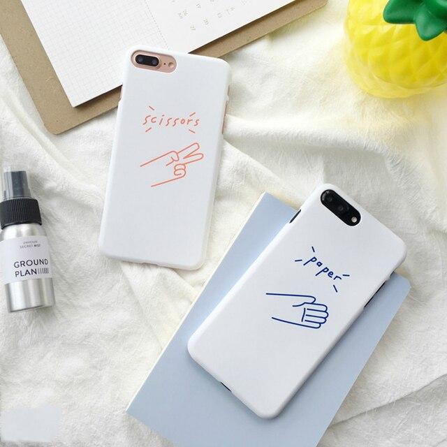 official photos cbb2f 396e4 US $4.19 |Korean Paper scissors Couple BBF Case for iPhone 7 7plus 6 6s  Plus Hard PC Case Gifts for iPhone 6splus 6plus-in Fitted Cases from ...