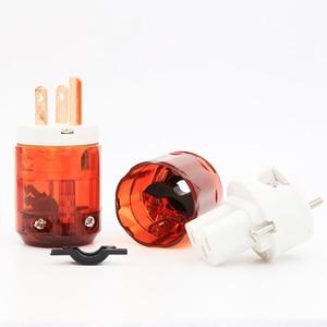 Image 5 - Miễn phí vận chuyển 1 cặp MỸ cắm P046 + C046 Red Copper MỸ AC Cắm Điện Âm Thanh Cắm Điện