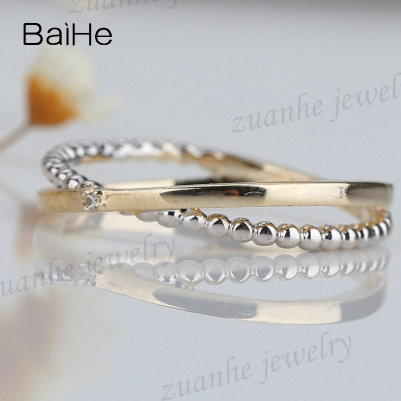 e708d82ddd97 Sólido 14 k amarillo oro blanco y oro amarillo u diamantes naturales dama  anillo de compromiso