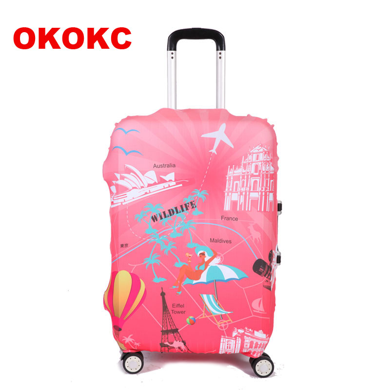 OKOKC Red Travel Luggage Suitcase Protective Cover For Trunk Case Apply To 19''-32'' Suitcase Cover Thicker Elastic