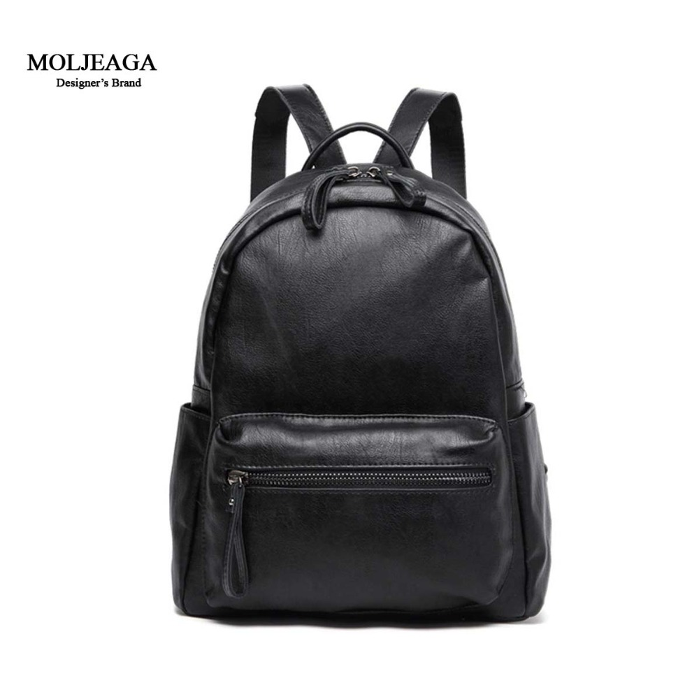 MOLJEAGA Brand 2017 New Arrive High capacity Girls Backpack PU Leather Shoulder Women s Backpack Fashion