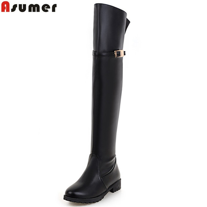ASUMER new arrive women boots fashion black brown high quality pu zipper lady over the knee boots low heels big size 33-43 цены онлайн
