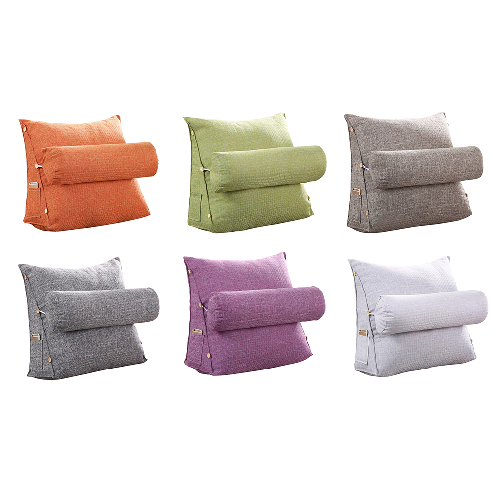 Cotton Linen Triangular Backrest Cushion For Sofa Cushions For Bed Rest Pillow Back 45*48*20cm