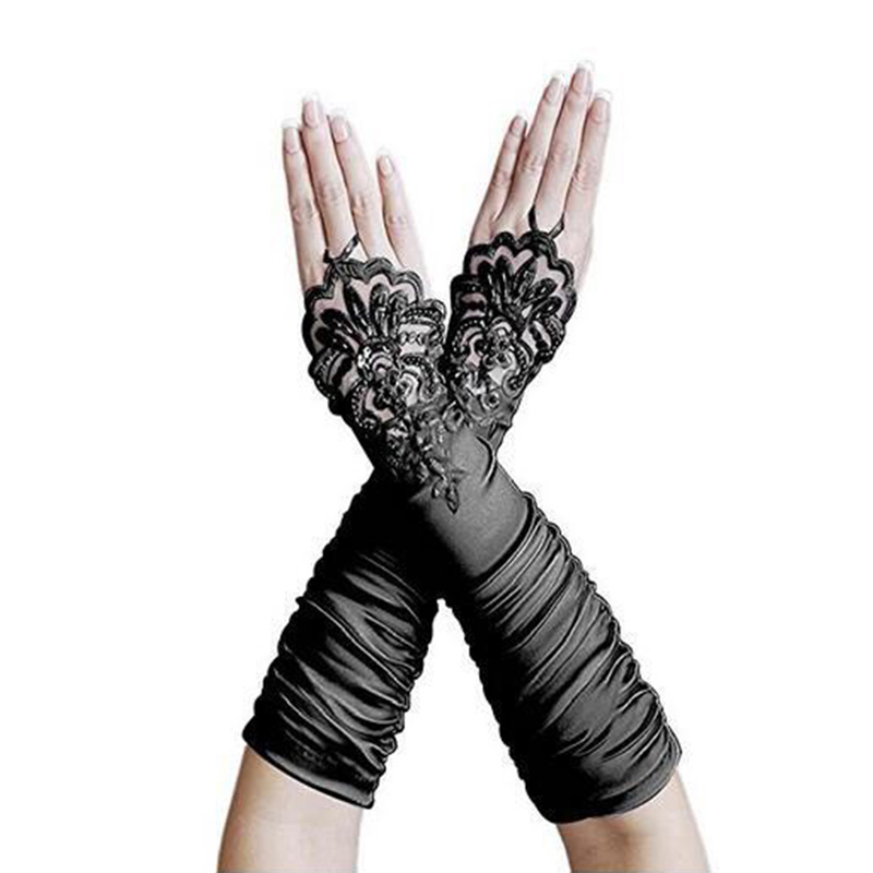 2019 Elegant Women Bridal Gloves Fingeless Elbow Long Bridal Gloves Fingerless Lace Beaded Wedding Accessories In Stocks