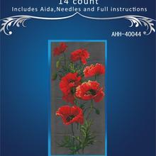 Red poppy flowers cross stitch package plant sets aida 18ct 14ct 11ct black cloth people kit embroidery DIY handmade