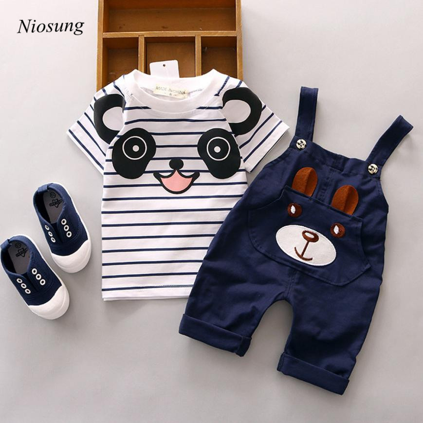 Niosung New 2017 Summer Toddler Straps Set Baby Boy Little Bear Stripe Short-Sleeve Set Kids Sport Clothing Set v
