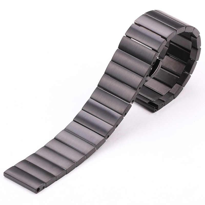 Bracelet de haute qualité en acier inoxydable Bracelet 16mm 18mm 20mm 22mm Bracelet de montre en métal noir argenté adapté pour Huawei Gear S3