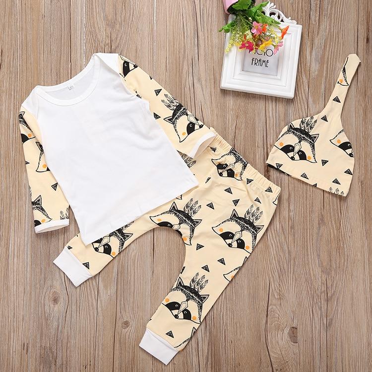 2018 Newborn Infant Clothes 100%Cotton Cartoon Fox Print Long Sleeve T-shirt+Pants Toddler Casual Baby Boys Girls Clothing Set