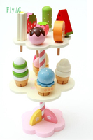 Fly AC Strawberry Three Layer Ice Cream Tree Simulated Kitchen Wooden Toys for Children Birthday/Xmas Gift