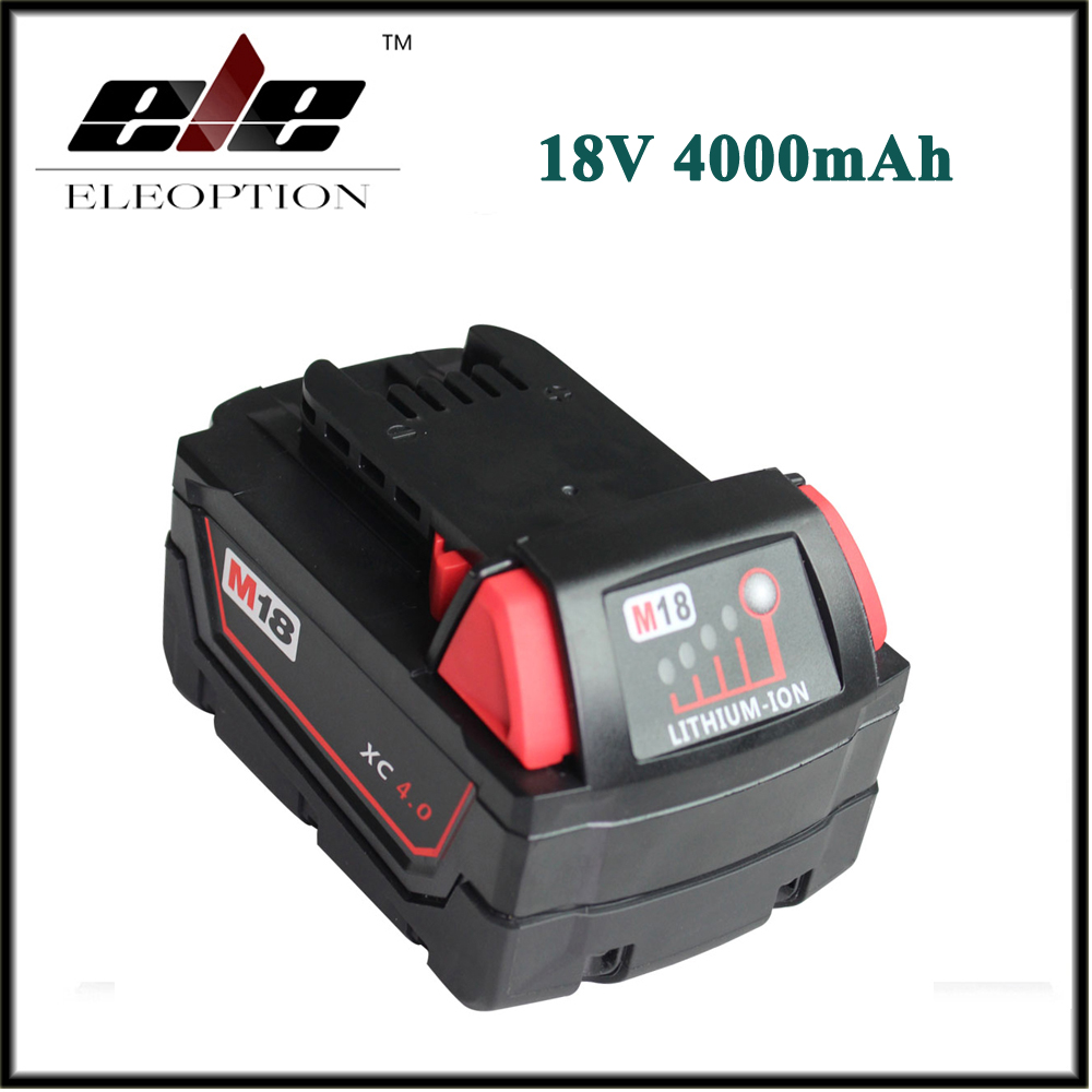 New 18V Lithium Ion 4000mAh Replacement Rechargeable Power Tool Battery for Milwaukee M18 XC 48-11-1815 M18B2 M18B4 M18BX Li18 3pcs 12v lithium ion 1500mah power tool rechargeable battery with charger replacement for milwaukee m12 48 11 2401 48 11 2402