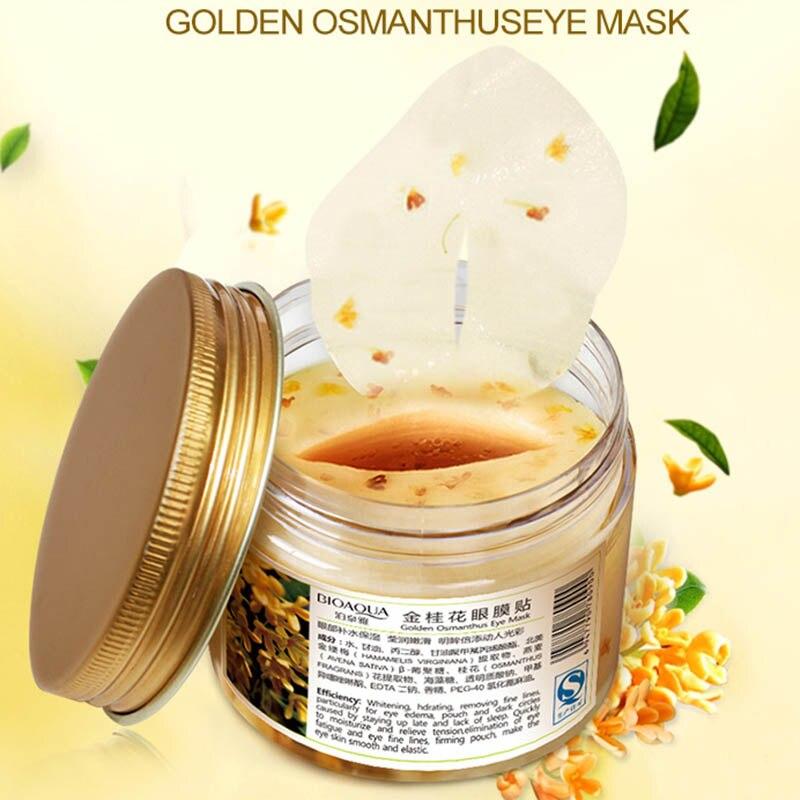 Купить с кэшбэком 80 pcs/ bottle  Gold Osmanthus eye mask women Collagen gel whey protein face care sleep patches health mascaras de dormir