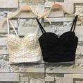 P156 Buena Calidad Nuevo Blanco Perlas Bralet Sujetador Bustier Recortada Top Chaleco Fajas Boda Del Partido de Las Mujeres Más El Tamaño