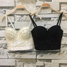 P156 Good Quality New White Pearls Bralet Corselets Women's Party Wedding Bustier Bra Cropped Top Vest Plus Size