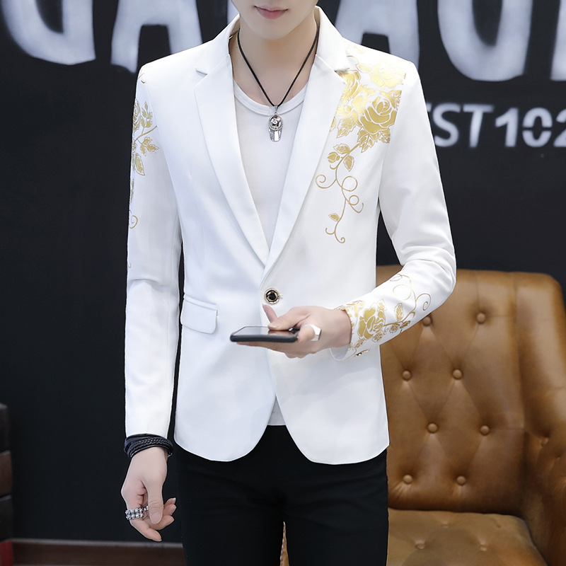 2019 Fashion Single Button New Casual Men's White Black Men Blazers Long Sleeves Printing Banquet Suits Blazer