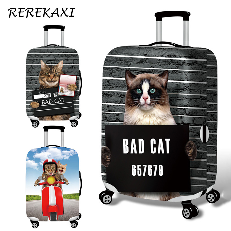REREKAXI Travel Suitcase Luggage Cover Cat Baggage Dust Protection Elastic Case Covers For 18-32 Inch Trolley Travel AccessoriesREREKAXI Travel Suitcase Luggage Cover Cat Baggage Dust Protection Elastic Case Covers For 18-32 Inch Trolley Travel Accessories