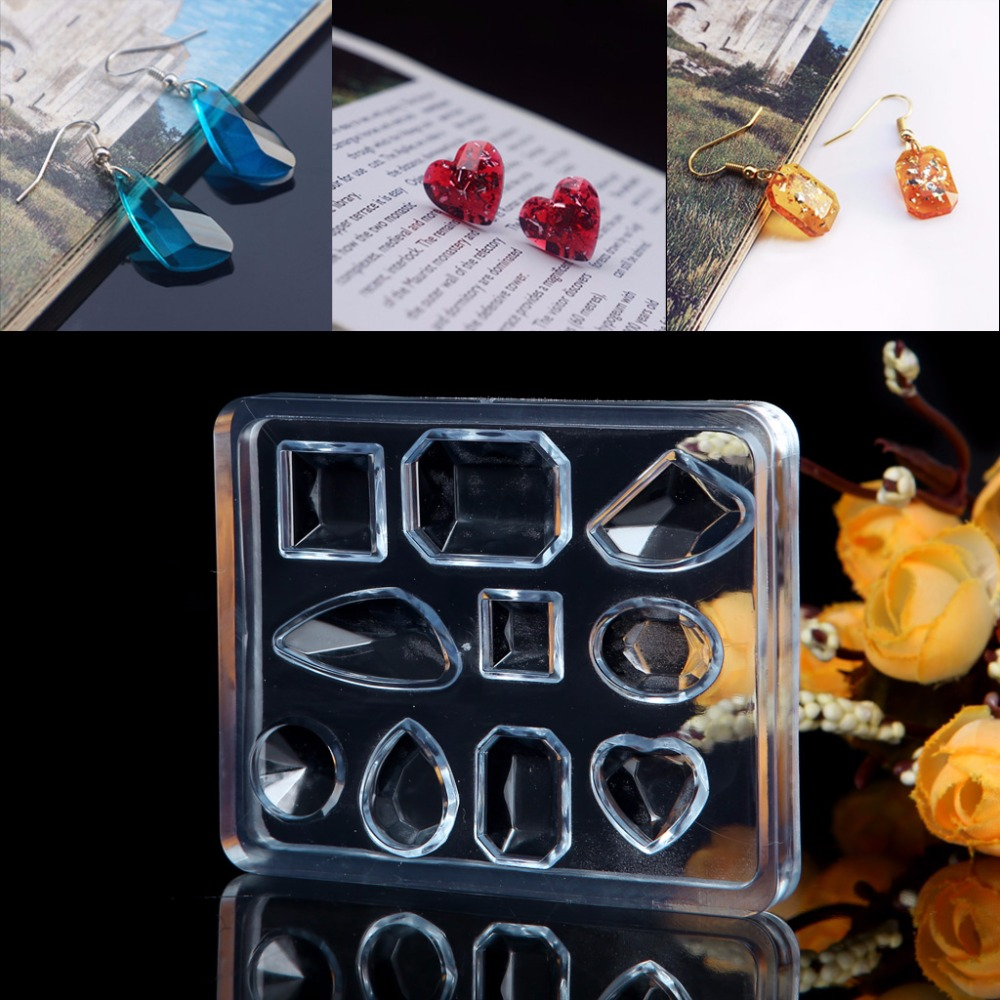 JAVRICK 7.5cmx6.1cm Geometric Jewelry Mold Pendant Earring Silicone Resin Craft Making Tool Handmade 2S40342