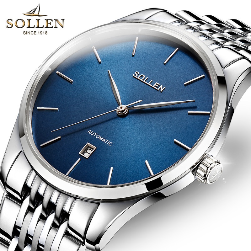 SOLLEN Fashion Ultra Thin Men Watch Automatic Machinery Luxury Brand Calendar Watches Waterproof Wristwatches Relojes Mujer ultra luxury 2 3 5 modes german motor watch winder white color wooden black pu leater inside automatic watch winder