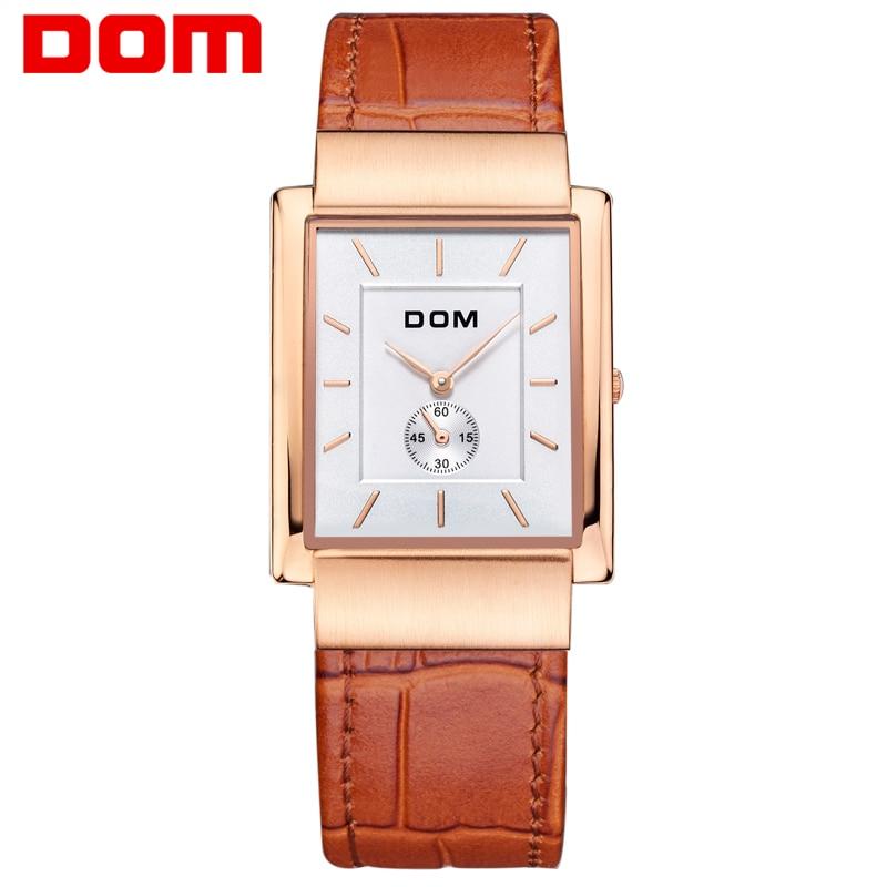 DOM Men mens watches top brand luxury waterproof quartz leather gold watch men Square watches reloj