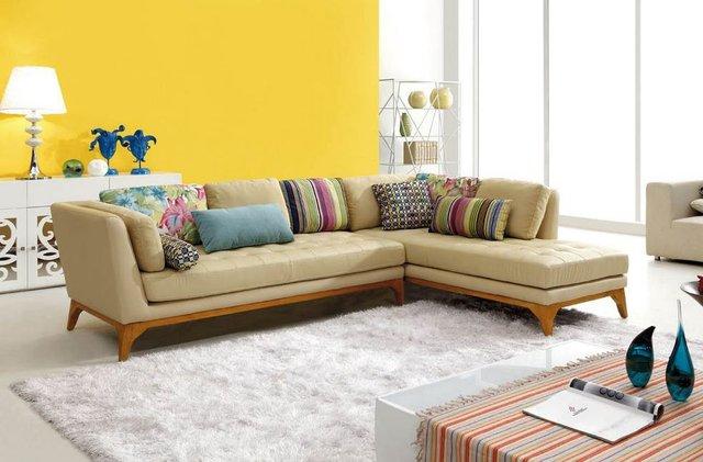 2017 Yang Modern Sudut Sofa Set Ikea Kulit Ruang Tamu