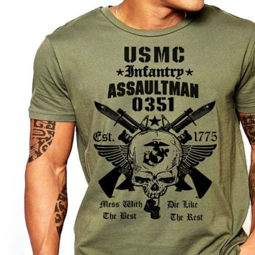 US Marines Infantry Assaultman T-shirt mænd MOS 0351 USMC army - Herretøj - Foto 2