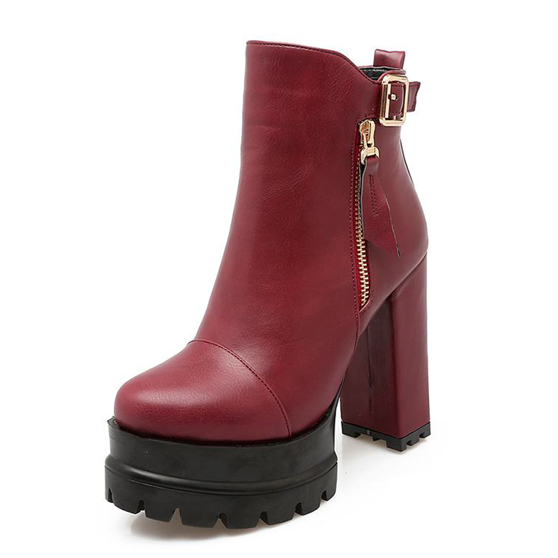 ФОТО Big Size 33-43 Popular Thick High Heels Ankle Boots Platform Shoes Woman Buckle Charm Female Footwear Add Fur Fall Winter Boots