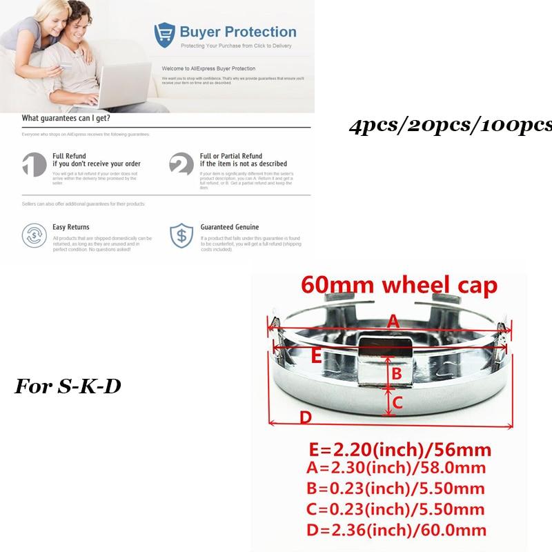 4 pcs 20 pcs 100 pcs Auto center de Roue De voiture hub Caps 60mm 2.36 pouces pvc noir et argenté/vert couleur couverture