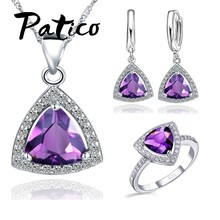 Shining Bridal Jewelry Sets AAA Cubic Zircon Stone 925 Sterling Silver Earrings Necklaces Rings Bijoux for Wedding Party(China)