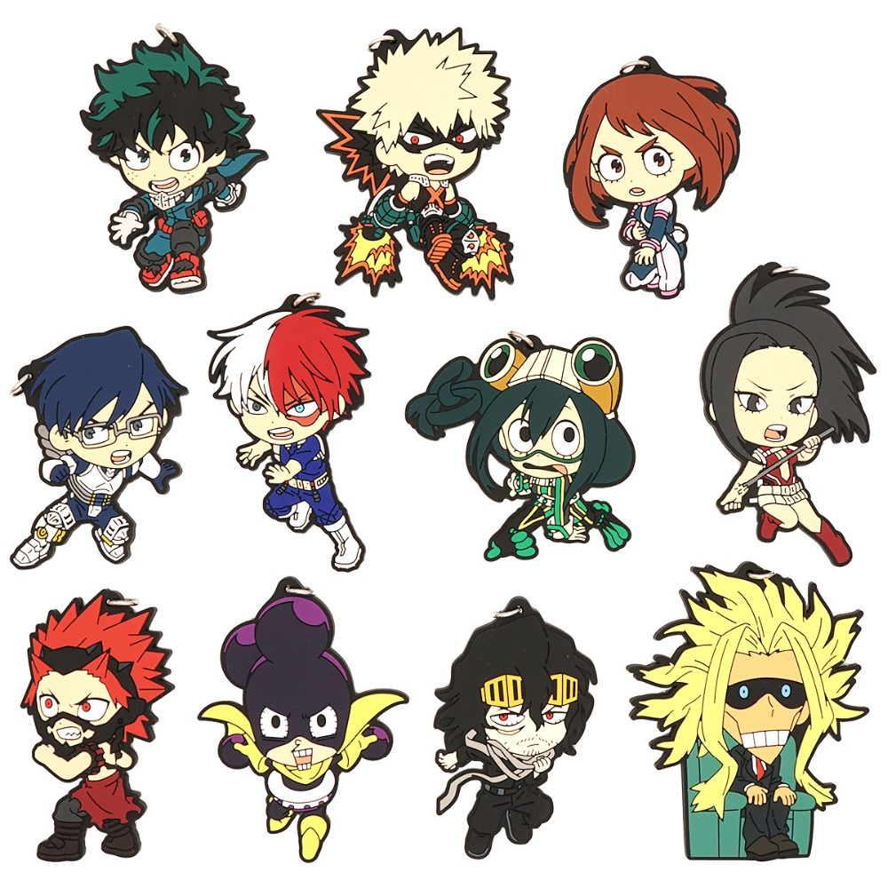 My Hero Academia Anime Boku No Hero Academia Deku Bakugo Shoto Allmight Eijiro Uraraka Eraser Head Hero Uniform Rubber Keychain Action Toy Figures Aliexpress