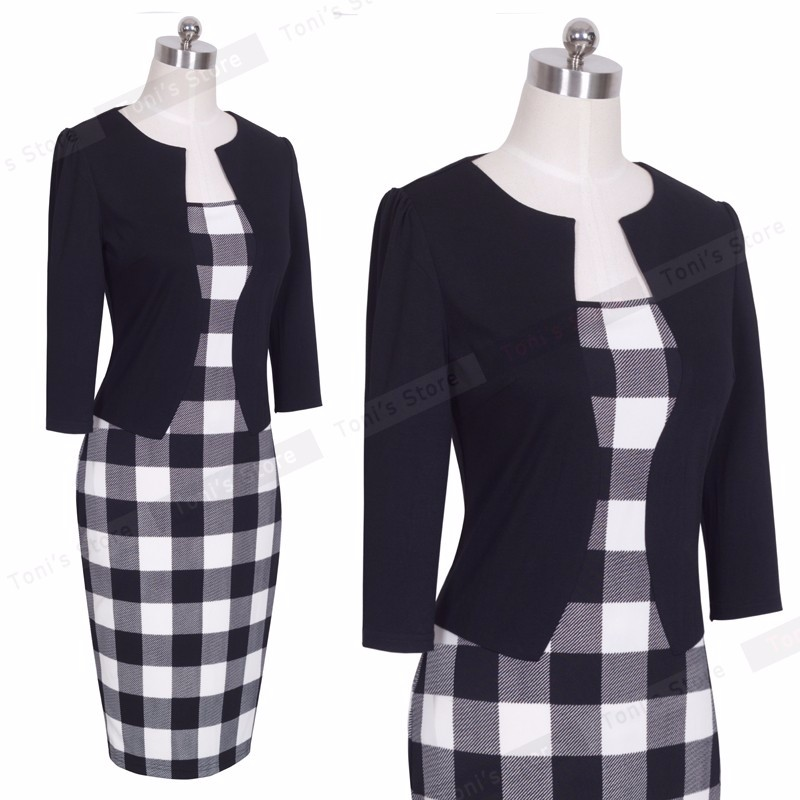 Nice-forever One-piece Faux Jacket Brief Elegant Patterns Work dress Office Bodycon Female 3/4 Or Full Sleeve Sheath Dress b237 27