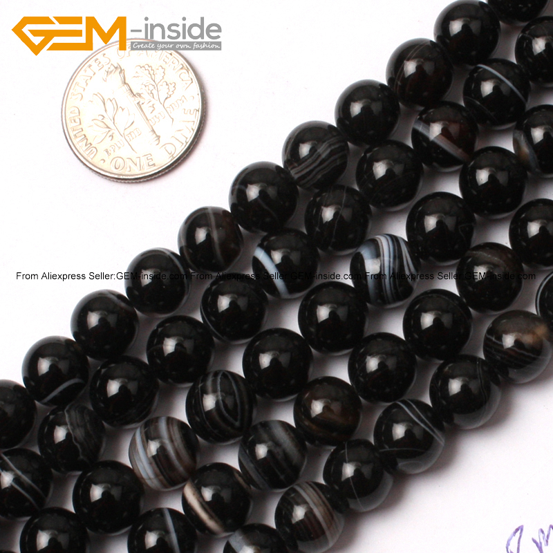 Natural Round Banded Black Stripe Onyx Agates Beads For Jewelry Making 6-18mm 15inches DIY FreeShipping Wholesale Gem-inside