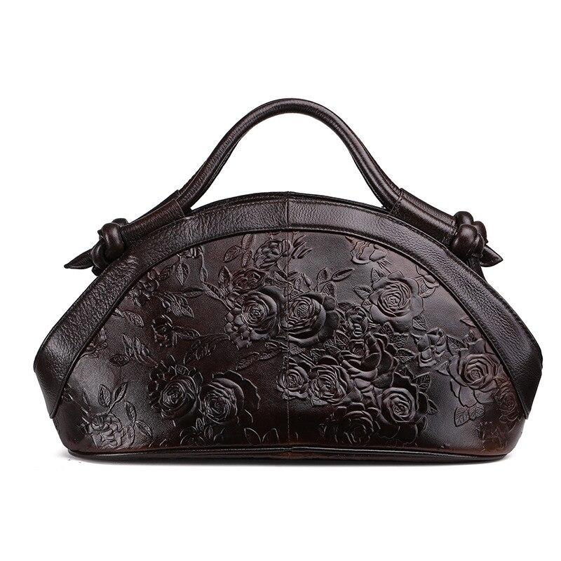 新到着オイルワックス革の女性のハンドバッグファッションエンボス加工クロスボディバッグ女性のハンドバッグの動向バッグ Bolsas  グループ上の スーツケース & バッグ からの トップハンドルバッグ の中 1
