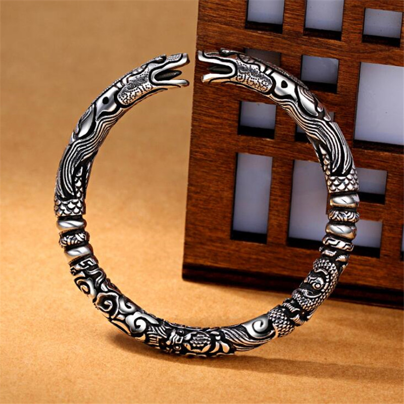 Vintage Punk Silver 925 Jewelry Fashion Hyperbole Rock Snake Head Pattern 925 Thai silver Bracelets & Bangles For Men B043