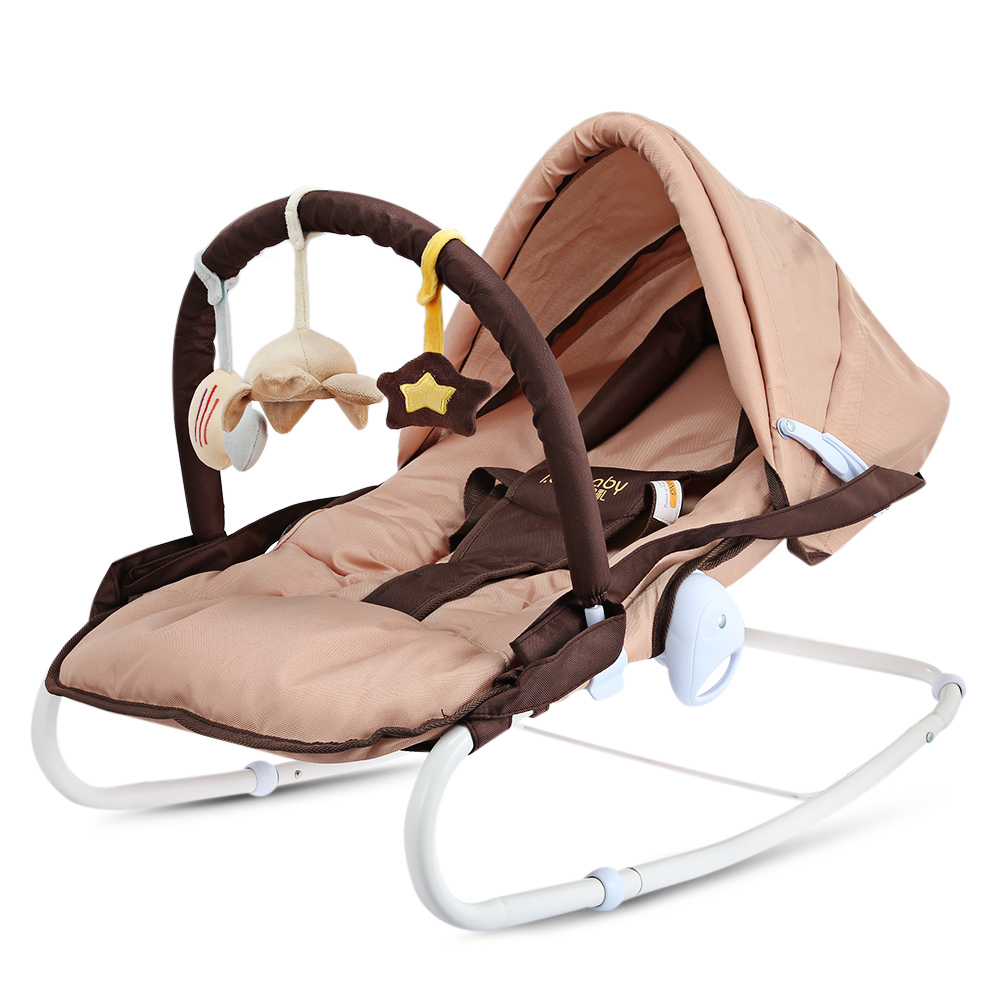 Newborn Baby Rocking Cradle Chair Chaise Seat Coax Babe Kids Artifact Removable Music Toy Bar Adjustable Stainless Steel Support