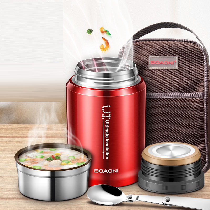BOAONI 750ml Thermos Food Jar Vacuum Insulated Stainless Steel Thermal Kitchen Lunch Box Keep Heat Containers With Folding SpoonBOAONI 750ml Thermos Food Jar Vacuum Insulated Stainless Steel Thermal Kitchen Lunch Box Keep Heat Containers With Folding Spoon