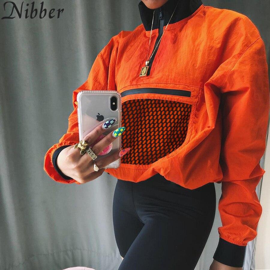 Women Spring Orange Half Open Collar Loose Top Pullover Nibber 2019 New Chest Mesh Decoration Sweatshirt Casual Coat Active Wear