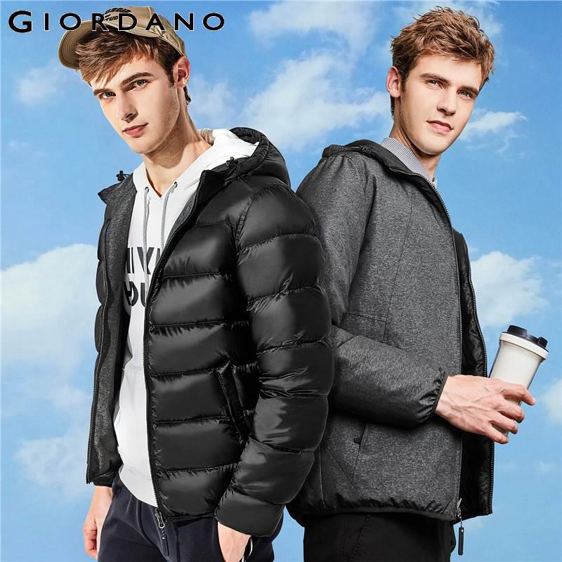 Giordano mężczyźni w dół kurtki mężczyzn odwracalny z kapturem w stylu lekka kurtka puchowa mężczyźni można prać w pralce wiatroszczelna Packable w Kurtki puchowe od Odzież męska na  Grupa 1