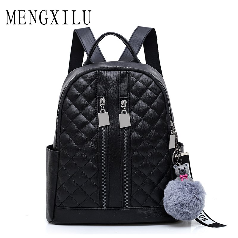 MENGXILU women pu leather backpack Large Capacity black school bags for teenagers girls feminine backpack sac a dos female british style printing vintage backpack female cartoon school bag for teenagers high quality pu leather backpack sac a dos femme