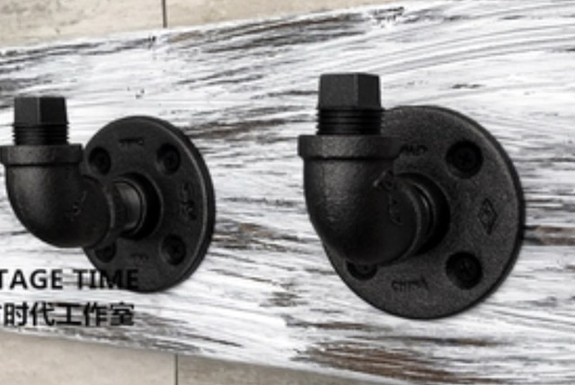 2PCS/SET  7x5x5cm  Good quality Industrial style retro water pipe hook Wall hanging hook