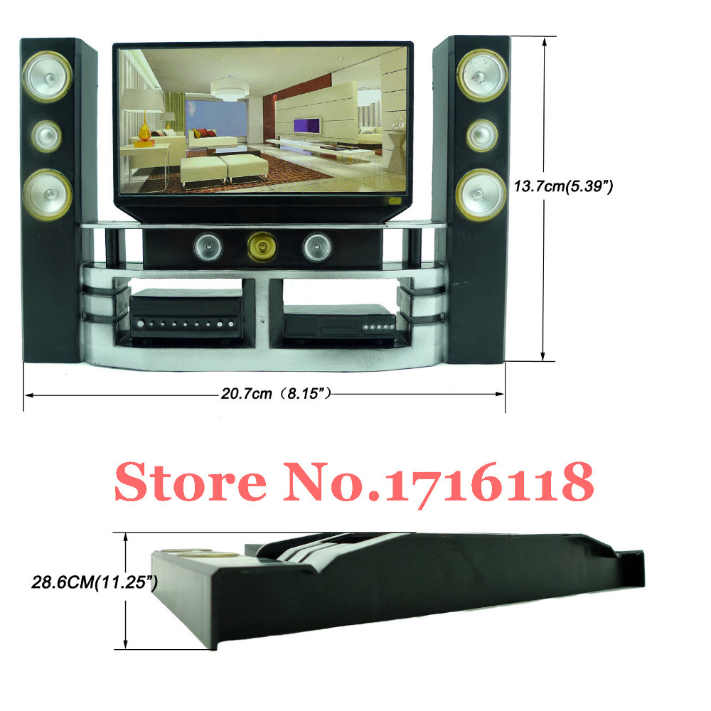 Free Shipping Mini Hi Fi 1:6 TV Home Theater Cabinet Set Combo for ...