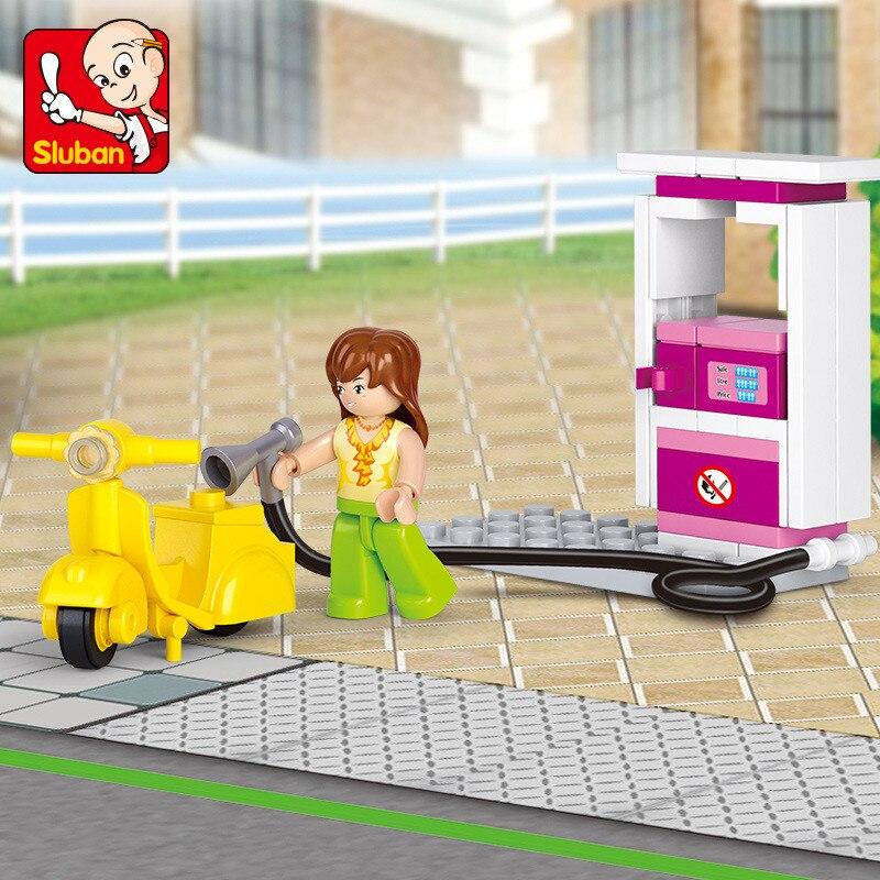 Blocks Hearty Sluban M38-b0518 Girl Friends City Gas Station Model Building Blocks Sets Figures Compatible Legoings Educational Toys For Girls Model Building
