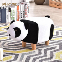 Stool Animal stool panda cartoon shoe bench Creative furniture sofa Comfortable Removable cleaning flannel 4 Wooden legs 2 style
