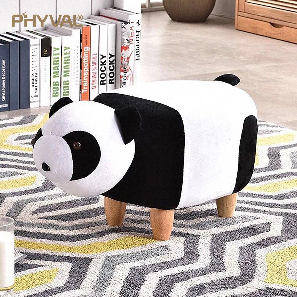 Tabouret Animal tabouret panda dessin animé banc à chaussures meubles créatifs canapé confortable amovible nettoyage flanelle 4 pieds en bois 2 style