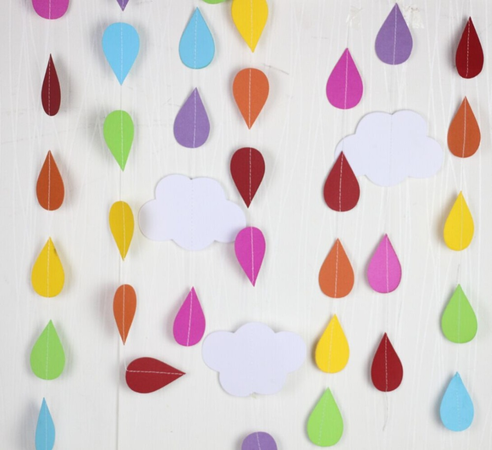 unidslote pies rain drop guirnaldas guirnaldas de papel beb ducha