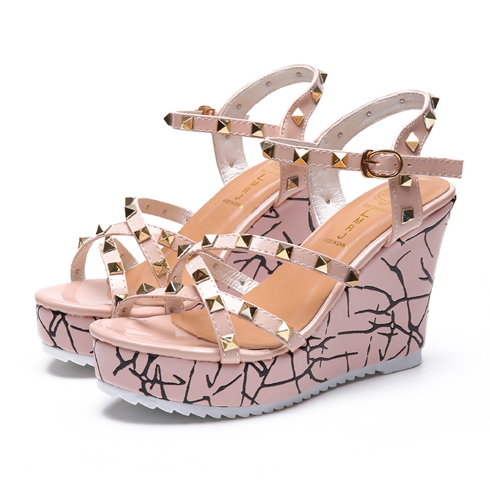 Zapatos Mujer 2018 Shoes Woman Sandals Wedge Summer Lady Fashion High Heels Sandals Elegant Rivets Women Shoes Platform Wedges 28