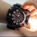 Alta Brilhante Relógio Tático Lanterna com Bússola Esportes Ao Ar Livre Relógio de Pulso À Prova D' Água Led de Carregamento USB Lâmpada Tocha