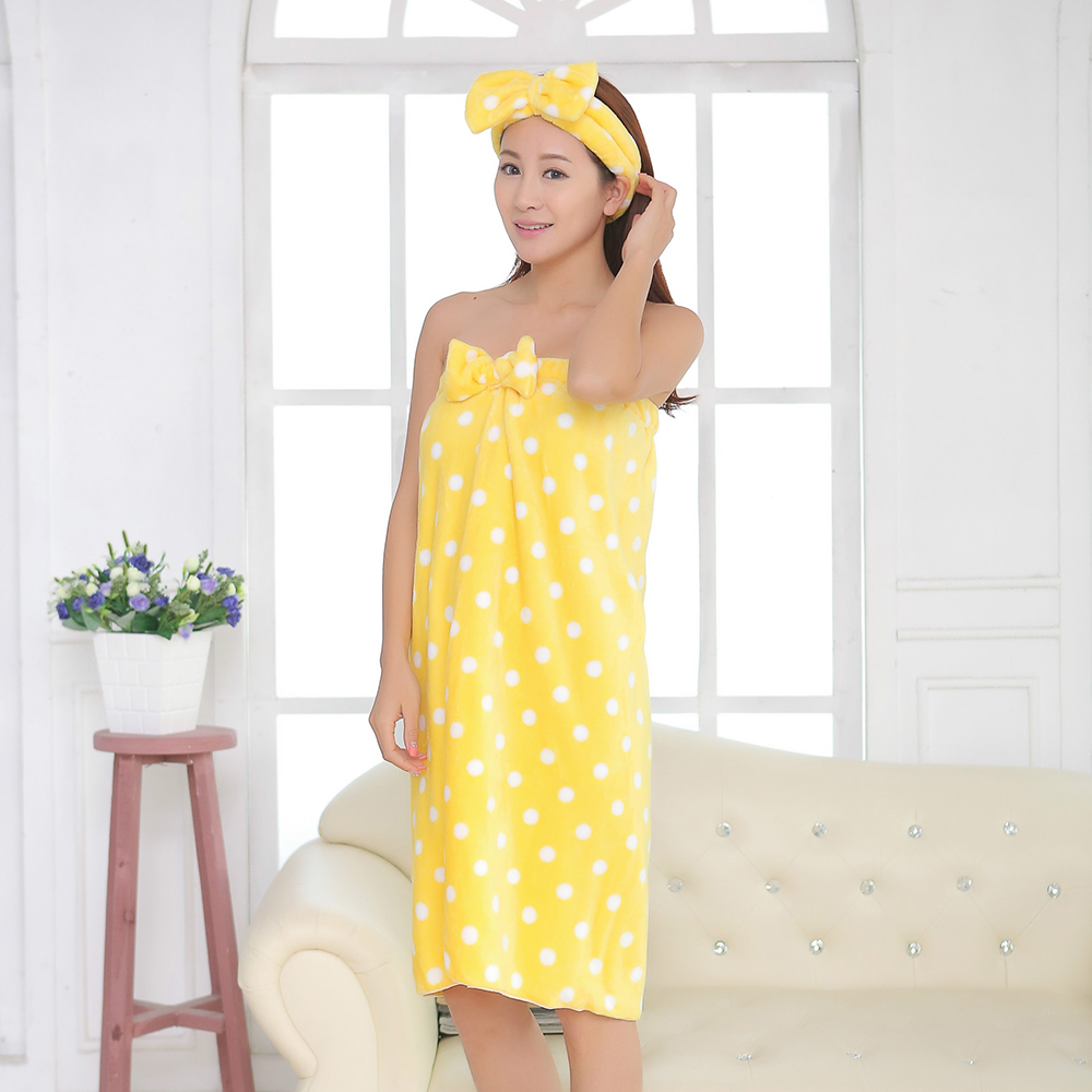 Super Absorbent Towel Sexy Cute Bow Wrap Flannel Nightgown Skirt Bra Bath Towel Microfiber Towel Lady