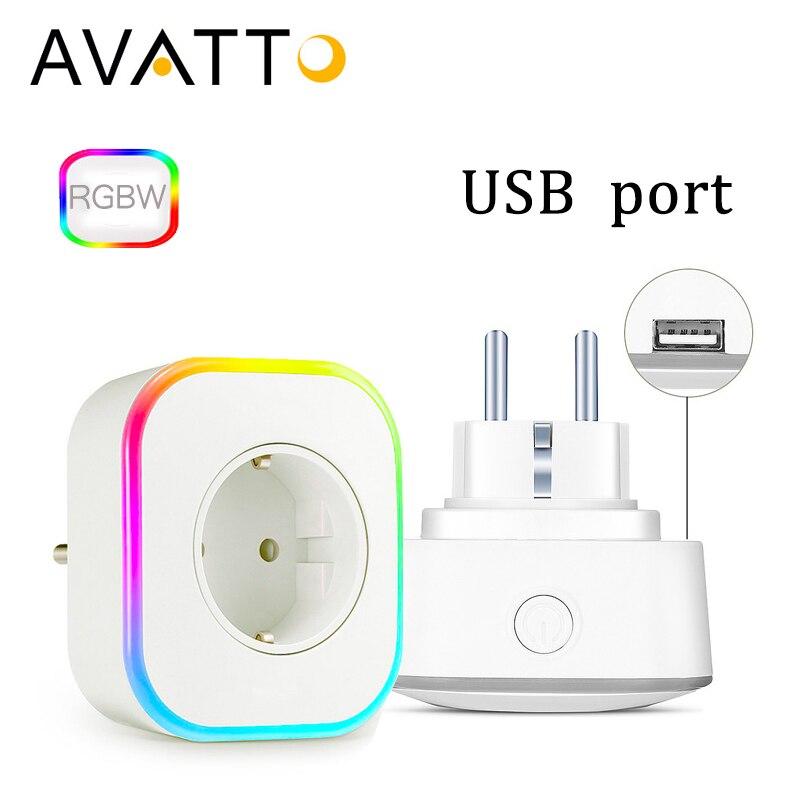AVATTO 16A UE RGBW wifi enchufe inteligente con 1 DE CARGA USB puerto inalámbrico salida inteligente con Google Alexa Control de voz