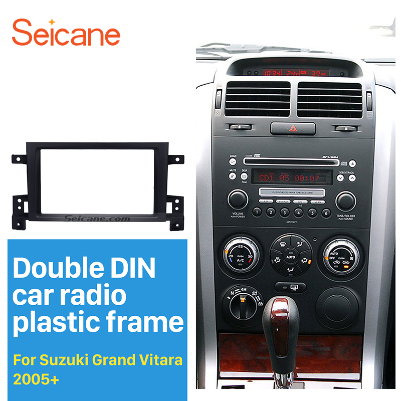 Seicane 2Din Car Radio Fascia for 2005 2006 2007 2008-2017 Suzuki Grand Vitara DVD Panel Dash Kit Installation Frame Trim Bezel