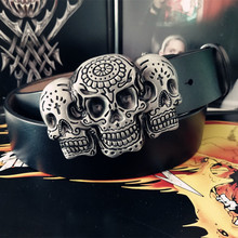 Mens Skull Genuine Leather Belt Male Cummerbunds Fashion Alloy Smooth Buckle Hip Hop Punk Rock High Quality Belts Gifts for Men