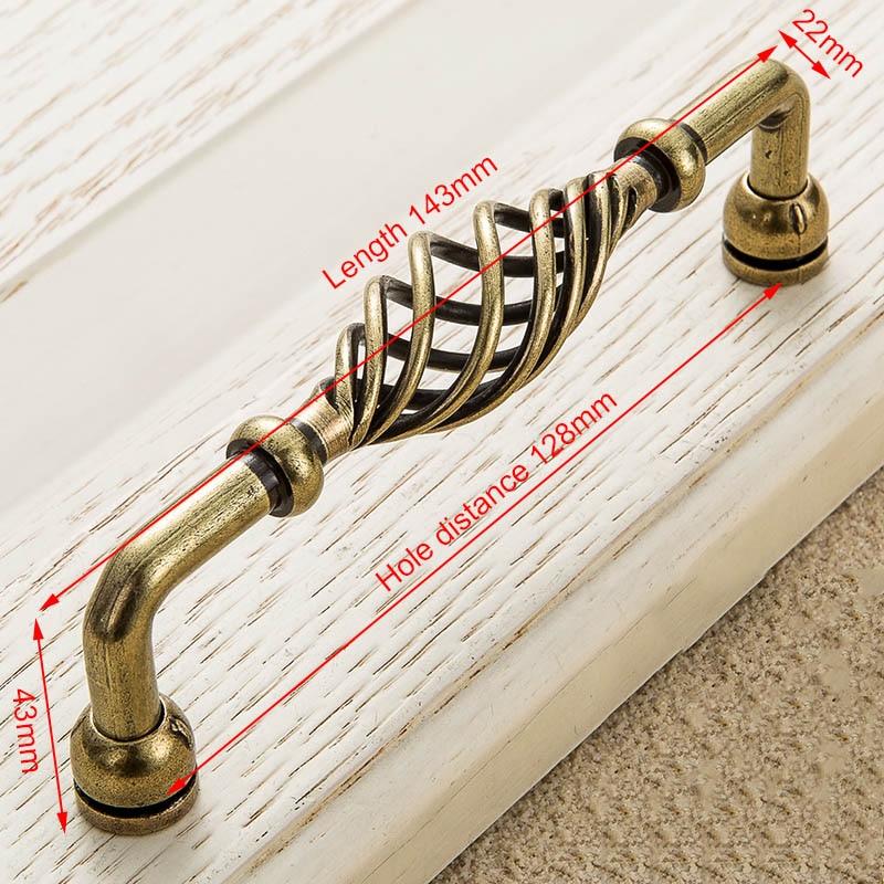 KAK винтажные антикварные бронзовые ручки для шкафа, полые ручки для птичьей клетки, ручки для выдвижных ящиков, Съемники дверей шкафа, Мебельная ручка - Цвет: 3001-128 Bronze